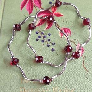 Vintage Boho Red Glass/Silver Bracelets (2) EUC
